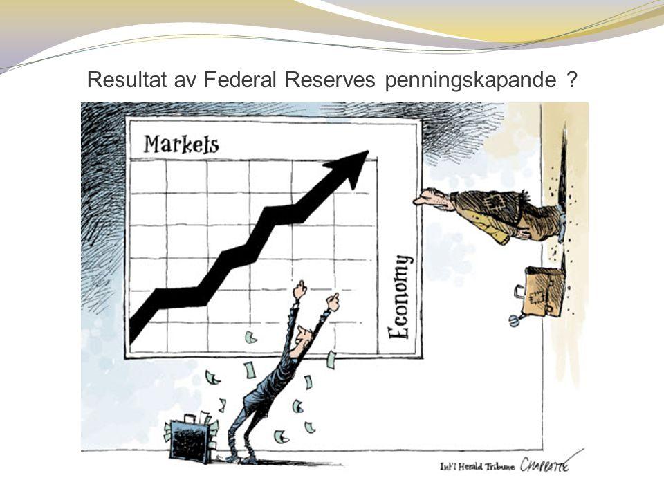 Resultat av Federal Reserves penningskapande ?