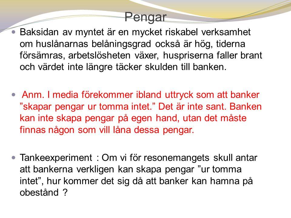 Pengar  Baksidan av myntet är en mycket riskabel verksamhet om huslånarnas belåningsgrad också är hög, tiderna försämras, arbetslösheten växer, huspriserna faller brant och värdet inte längre täcker skulden till banken.