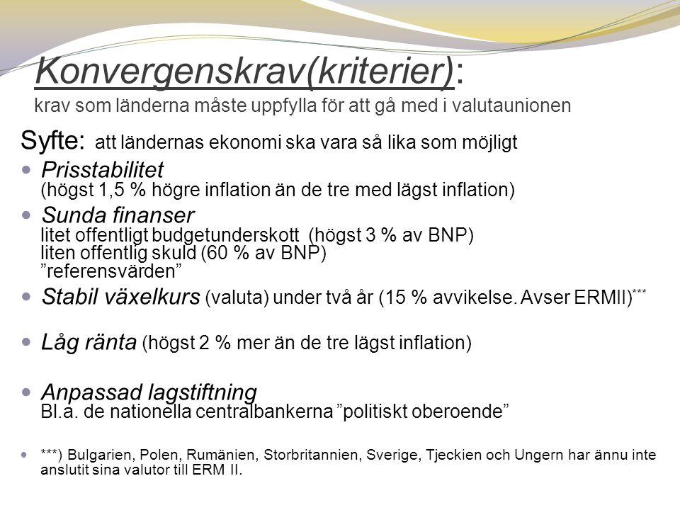 Konvergenskrav(kriterier): krav som länderna måste uppfylla för att gå med i valutaunionen Syfte: att ländernas ekonomi ska vara så lika som möjligt 