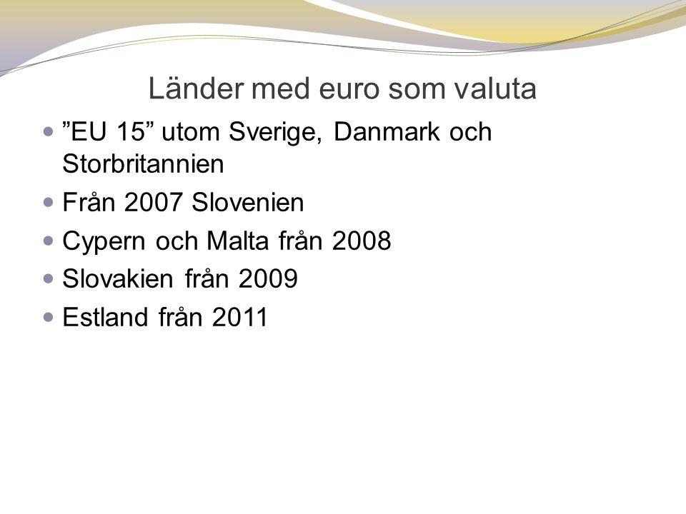 Länder med euro som valuta  EU 15 utom Sverige, Danmark och Storbritannien  Från 2007 Slovenien  Cypern och Malta från 2008  Slovakien från 2009  Estland från 2011
