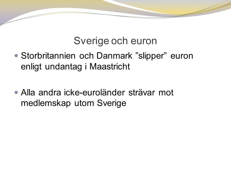 Sverige och euron  Storbritannien och Danmark slipper euron enligt undantag i Maastricht  Alla andra icke-euroländer strävar mot medlemskap utom Sverige