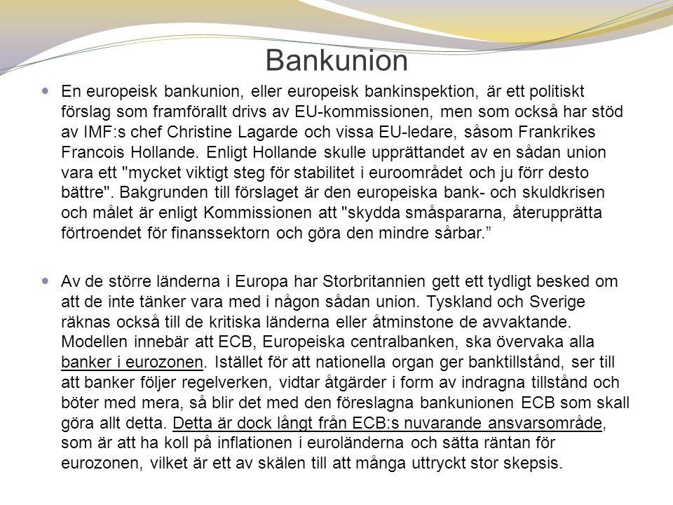 Bankunion  En europeisk bankunion, eller europeisk bankinspektion, är ett politiskt förslag som framförallt drivs av EU-kommissionen, men som också h