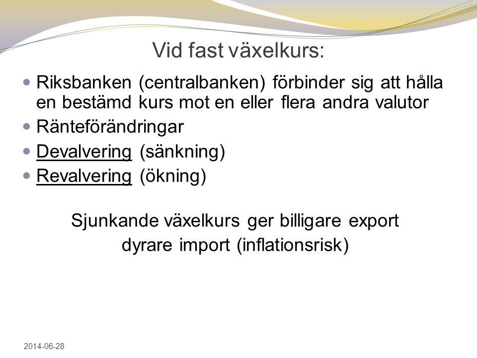 Vid fast växelkurs:  Riksbanken (centralbanken) förbinder sig att hålla en bestämd kurs mot en eller flera andra valutor  Ränteförändringar  Devalvering (sänkning)  Revalvering (ökning) Sjunkande växelkurs ger billigare export dyrare import (inflationsrisk) 2014-06-28