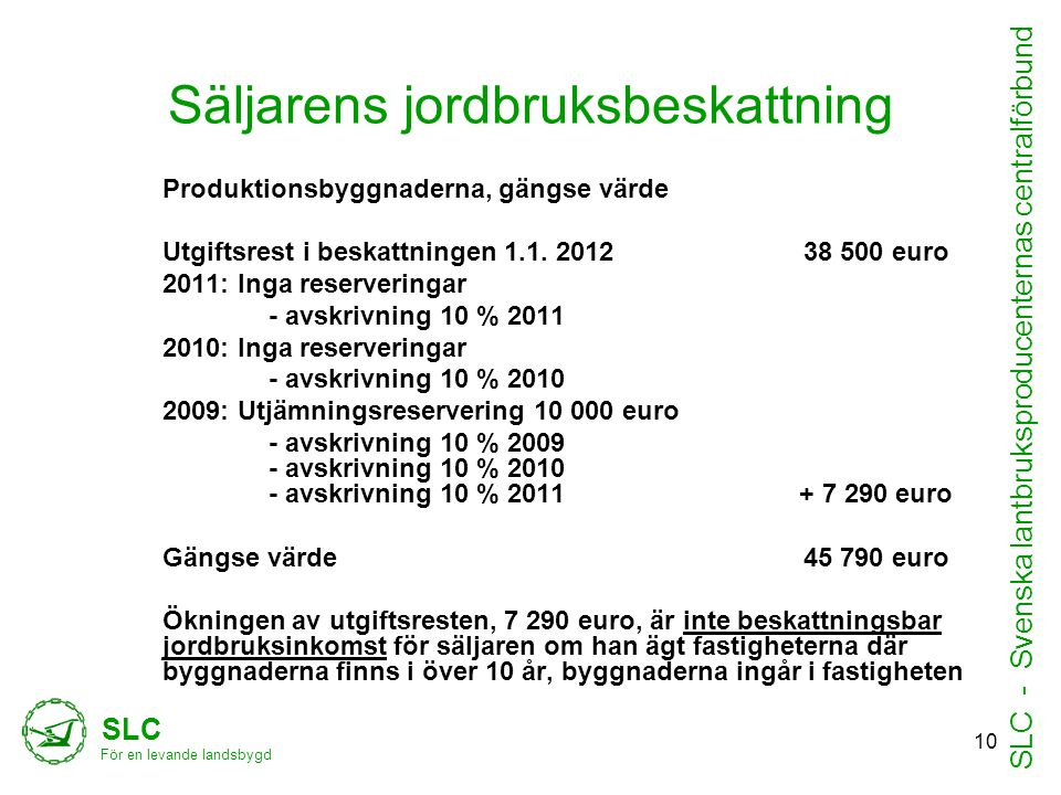 Säljarens jordbruksbeskattning Produktionsbyggnaderna, gängse värde Utgiftsrest i beskattningen 1.1. 2012 38 500 euro 2011: Inga reserveringar - avskr
