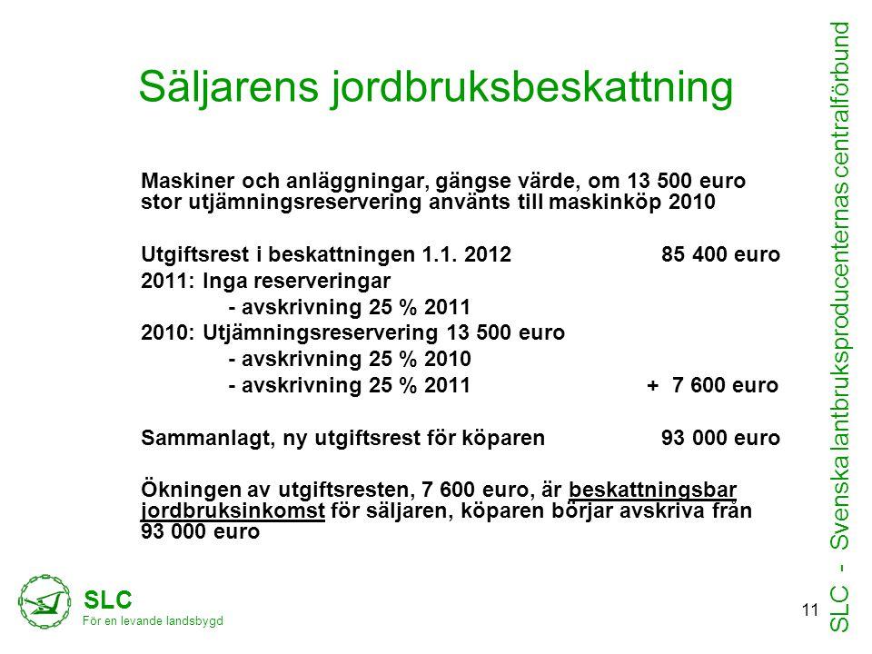 Säljarens jordbruksbeskattning Maskiner och anläggningar, gängse värde, om 13 500 euro stor utjämningsreservering använts till maskinköp 2010 Utgiftsrest i beskattningen 1.1.