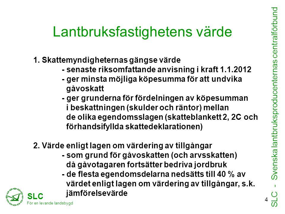 Lantbruksfastighetens värde 1. Skattemyndigheternas gängse värde - senaste riksomfattande anvisning i kraft 1.1.2012 - ger minsta möjliga köpesumma fö