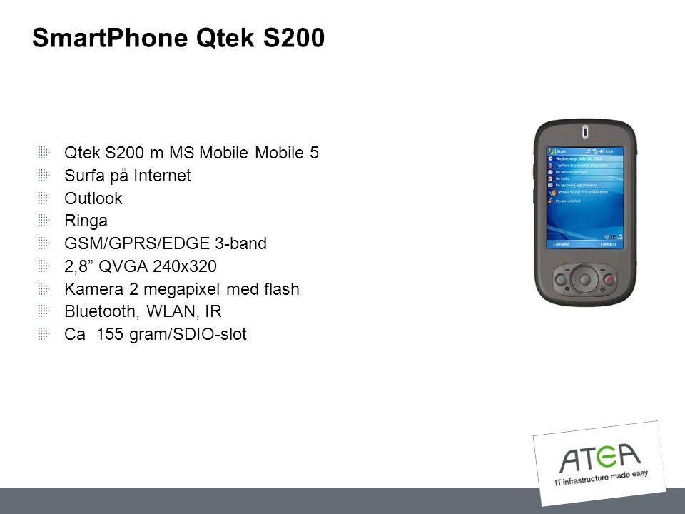 "SmartPhone Qtek S200 Qtek S200 m MS Mobile Mobile 5 Surfa på Internet Outlook Ringa GSM/GPRS/EDGE 3-band 2,8"" QVGA 240x320 Kamera 2 megapixel med flas"