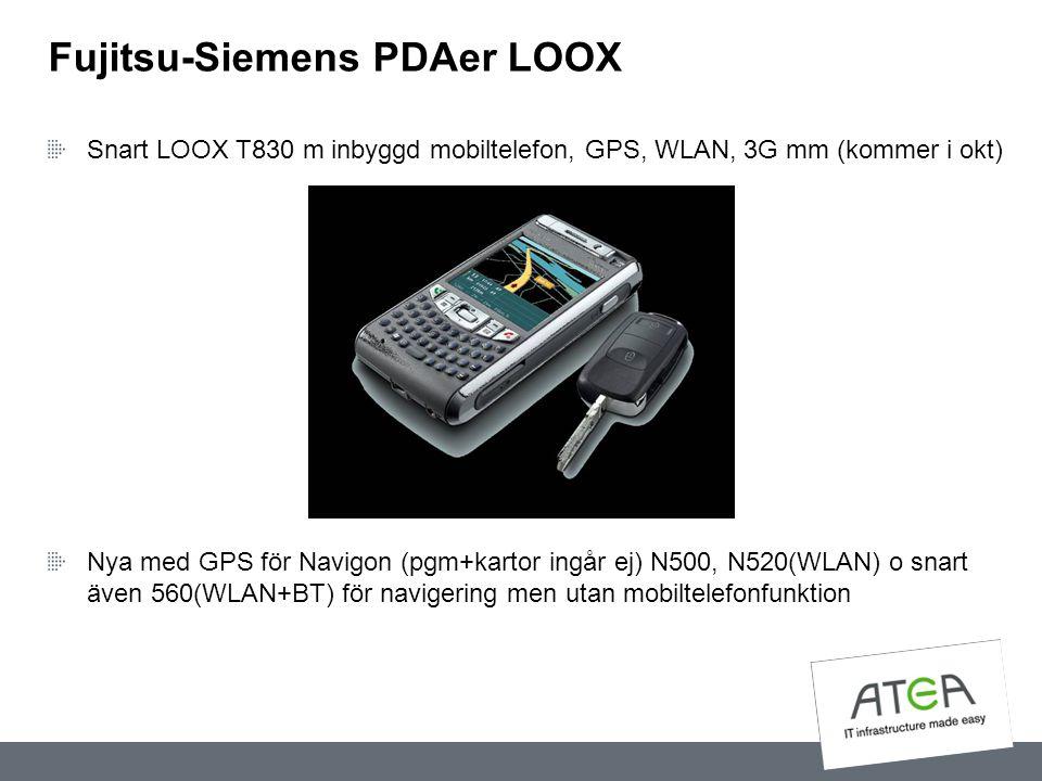 Fujitsu-Siemens PDAer LOOX Snart LOOX T830 m inbyggd mobiltelefon, GPS, WLAN, 3G mm (kommer i okt) Nya med GPS för Navigon (pgm+kartor ingår ej) N500,