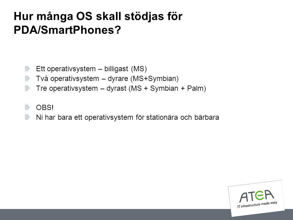 Hur många OS skall stödjas för PDA/SmartPhones? Ett operativsystem – billigast (MS) Två operativsystem – dyrare (MS+Symbian) Tre operativsystem – dyra