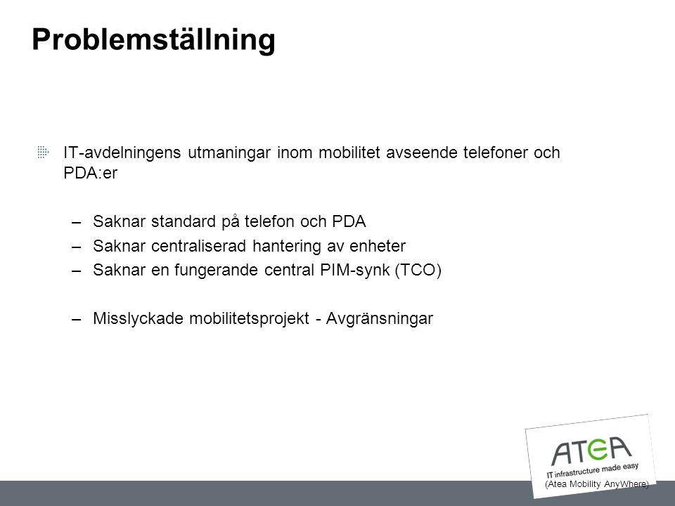 Problemställning IT-avdelningens utmaningar inom mobilitet avseende telefoner och PDA:er –Saknar standard på telefon och PDA –Saknar centraliserad han