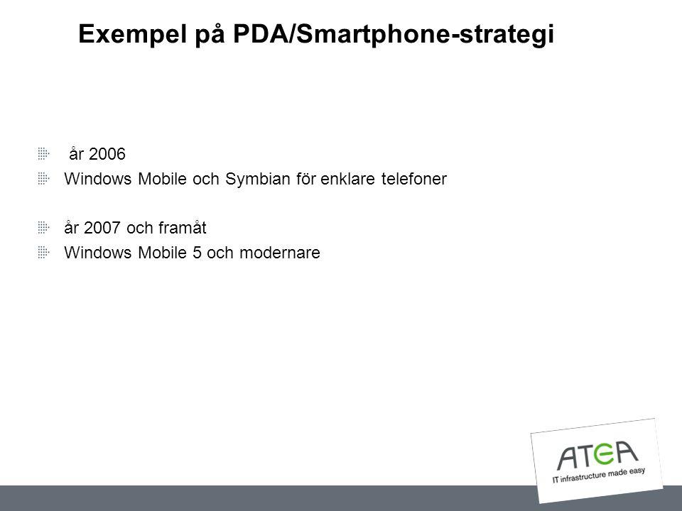 Exempel på PDA/Smartphone-strategi år 2006 Windows Mobile och Symbian för enklare telefoner år 2007 och framåt Windows Mobile 5 och modernare