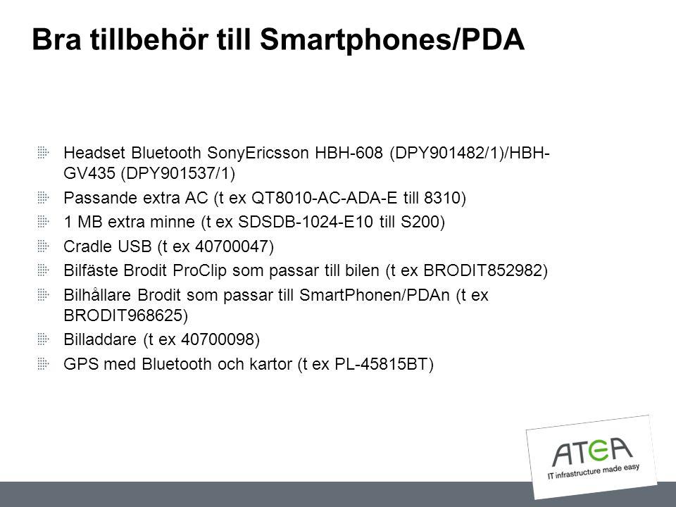 Bra tillbehör till Smartphones/PDA Headset Bluetooth SonyEricsson HBH-608 (DPY901482/1)/HBH- GV435 (DPY901537/1) Passande extra AC (t ex QT8010-AC-ADA