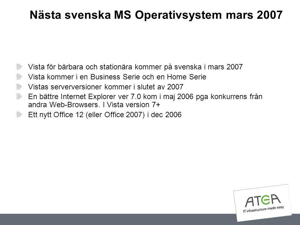 Nästa svenska MS Operativsystem mars 2007 Vista för bärbara och stationära kommer på svenska i mars 2007 Vista kommer i en Business Serie och en Home