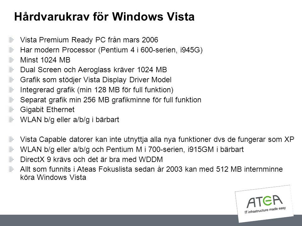 Hårdvarukrav för Windows Vista Vista Premium Ready PC från mars 2006 Har modern Processor (Pentium 4 i 600-serien, i945G) Minst 1024 MB Dual Screen oc