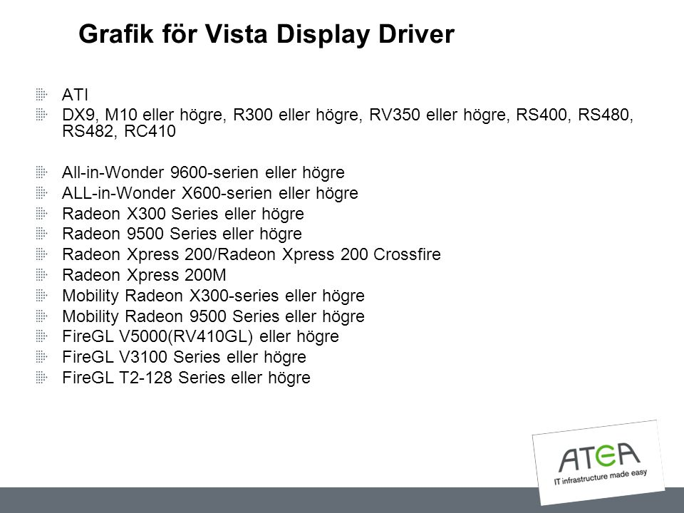 Grafik för Vista Display Driver ATI DX9, M10 eller högre, R300 eller högre, RV350 eller högre, RS400, RS480, RS482, RC410 All-in-Wonder 9600-serien el