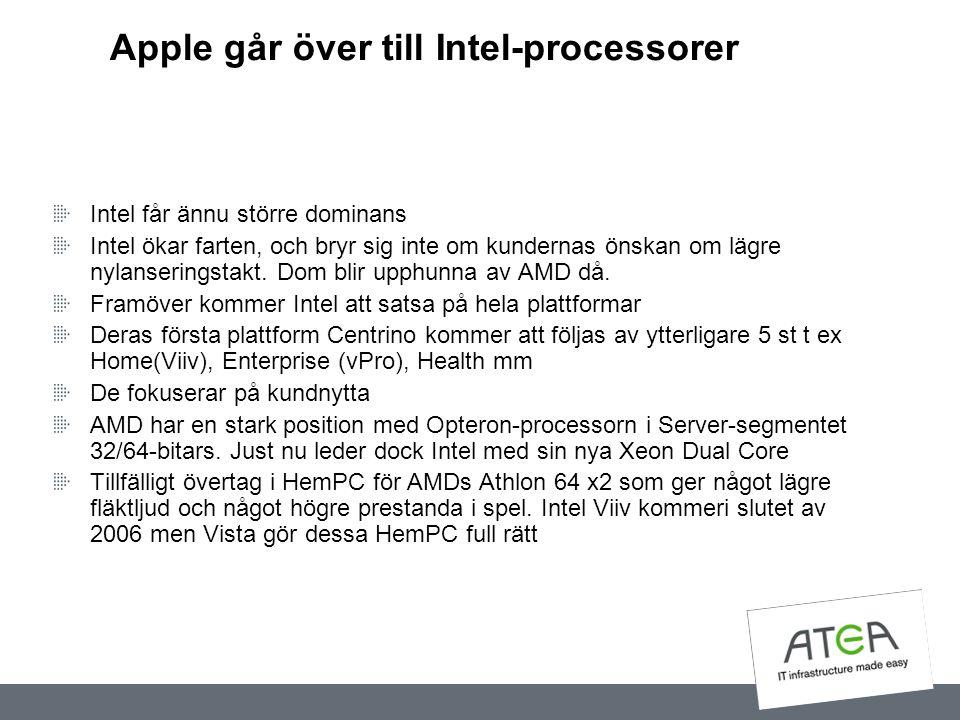 Apple går över till Intel-processorer Intel får ännu större dominans Intel ökar farten, och bryr sig inte om kundernas önskan om lägre nylanseringstak