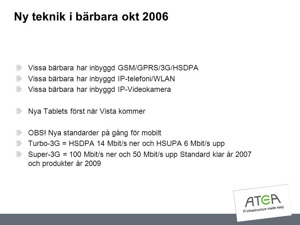 Ny teknik i bärbara okt 2006 Vissa bärbara har inbyggd GSM/GPRS/3G/HSDPA Vissa bärbara har inbyggd IP-telefoni/WLAN Vissa bärbara har inbyggd IP-Video