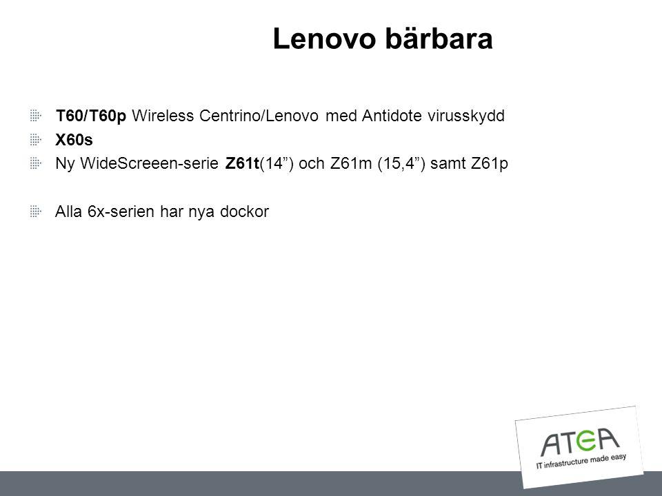 """Lenovo bärbara T60/T60p Wireless Centrino/Lenovo med Antidote virusskydd X60s Ny WideScreeen-serie Z61t(14"""") och Z61m (15,4"""") samt Z61p Alla 6x-serien"""