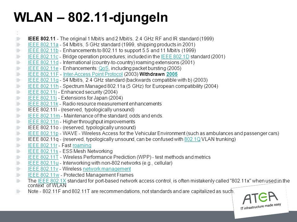 WLAN – 802.11-djungeln : IEEE 802.11 - The original 1 Mbit/s and 2 Mbit/s, 2.4 GHz RF and IR standard (1999) IEEE 802.11aIEEE 802.11a - 54 Mbit/s, 5 G
