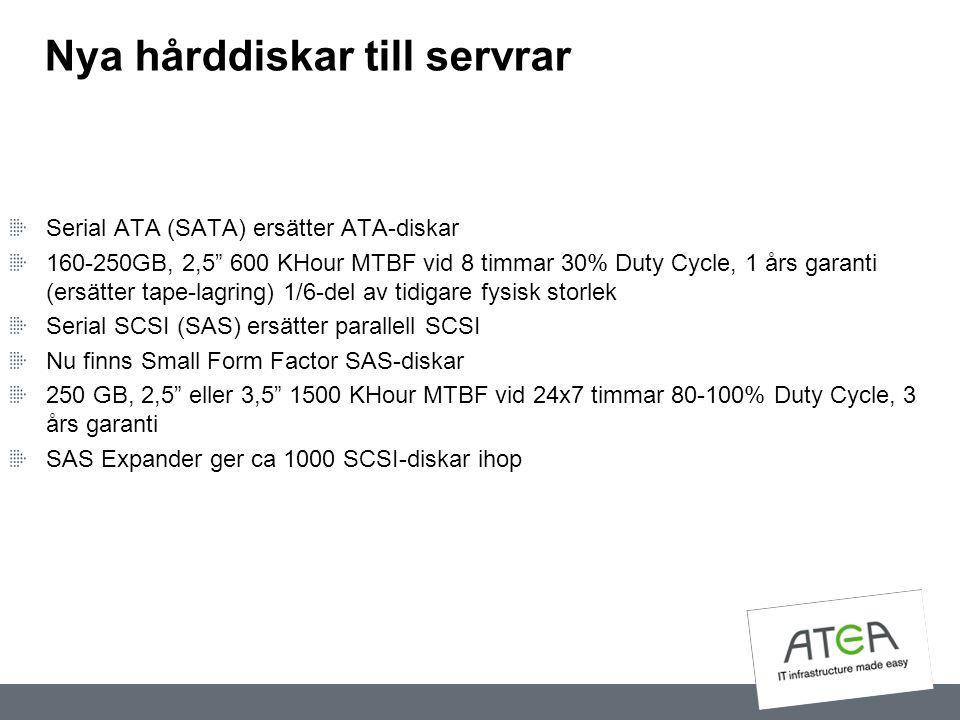 """Nya hårddiskar till servrar Serial ATA (SATA) ersätter ATA-diskar 160-250GB, 2,5"""" 600 KHour MTBF vid 8 timmar 30% Duty Cycle, 1 års garanti (ersätter"""