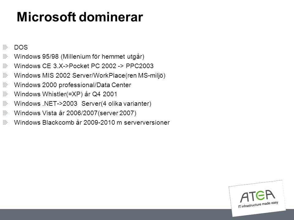 Microsoft dominerar DOS Windows 95/98 (Millenium för hemmet utgår) Windows CE 3.X->Pocket PC 2002 -> PPC2003 Windows MIS 2002 Server/WorkPlace(ren MS-
