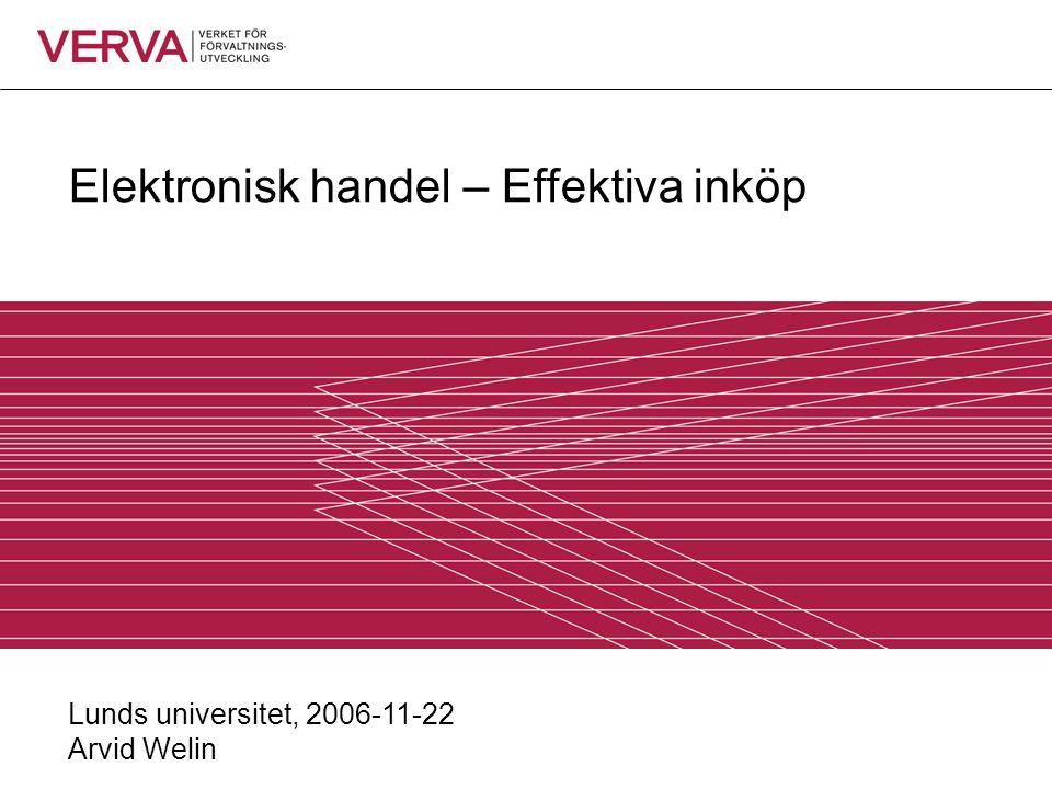 Elektronisk handel – Effektiva inköp Lunds universitet, 2006-11-22 Arvid Welin