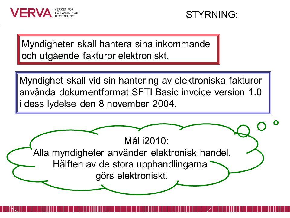 Myndighet skall vid sin hantering av elektroniska fakturor använda dokumentformat SFTI Basic invoice version 1.0 i dess lydelse den 8 november 2004. M
