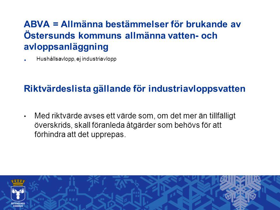 ABVA = Allmänna bestämmelser för brukande av Östersunds kommuns allmänna vatten- och avloppsanläggning.
