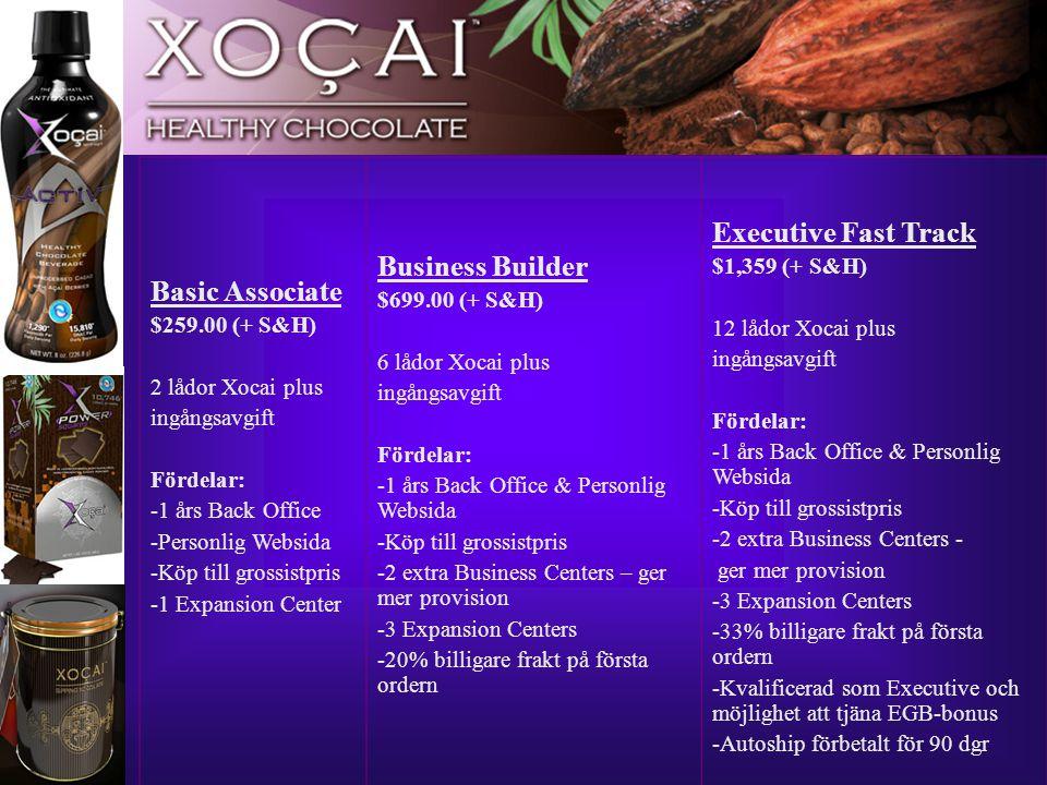 11 Basic Associate $259.00 (+ S&H) 2 lådor Xocai plus ingångsavgift Fördelar: -1 års Back Office -Personlig Websida -Köp till grossistpris -1 Expansio