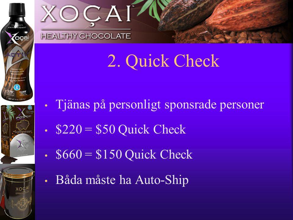 11 2. Quick Check • Tjänas på personligt sponsrade personer • $220 = $50 Quick Check • $660 = $150 Quick Check • Båda måste ha Auto-Ship