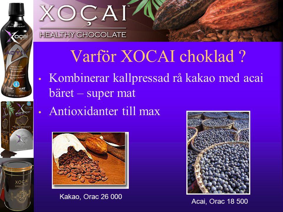 11 • Kombinerar kallpressad rå kakao med acai bäret – super mat • Antioxidanter till max Varför XOCAI choklad ? Kakao, Orac 26 000 Acai, Orac 18 500