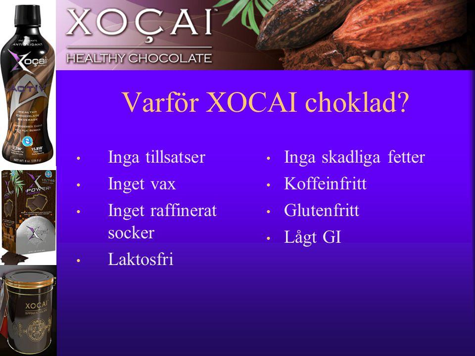 11 Varför XOCAI choklad? • Inga tillsatser • Inget vax • Inget raffinerat socker • Laktosfri • Inga skadliga fetter • Koffeinfritt • Glutenfritt • Låg