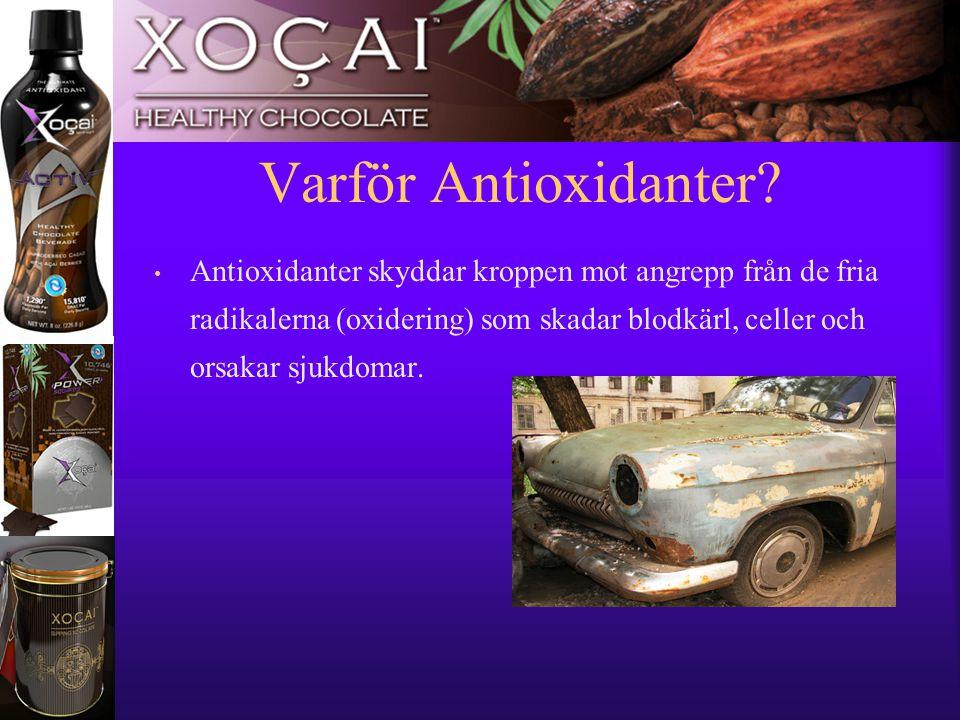 11 Varför Antioxidanter? • Antioxidanter skyddar kroppen mot angrepp från de fria radikalerna (oxidering) som skadar blodkärl, celler och orsakar sjuk