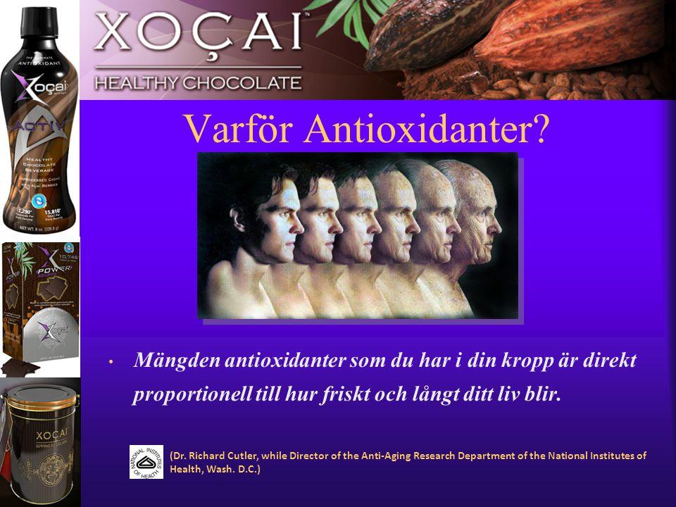 11 Varför Antioxidanter? • Mängden antioxidanter som du har i din kropp är direkt proportionell till hur friskt och långt ditt liv blir. (Dr. Richard