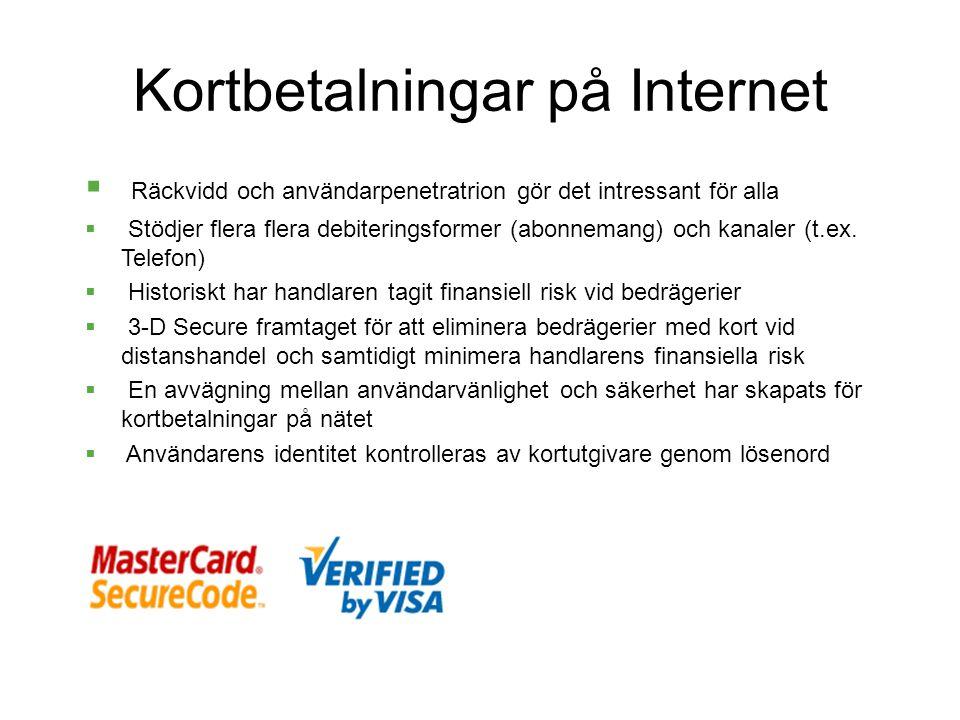Kortbetalningar på Internet  Räckvidd och användarpenetratrion gör det intressant för alla  Stödjer flera flera debiteringsformer (abonnemang) och kanaler (t.ex.