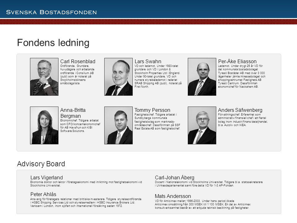 5 Lars Vigerland Ekonomie doktor och lektor i företagsekonomi med inriktning mot fastighetsekonomi vid Stockholms Universitet. Peter Ahlås Ansvarig fö