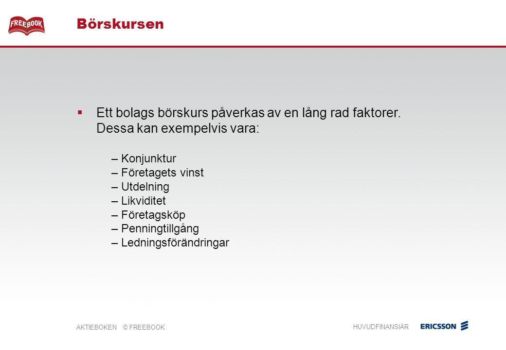 AKTIEBOKEN © FREEBOOK HUVUDFINANSIÄR  Ett bolags börskurs påverkas av en lång rad faktorer.