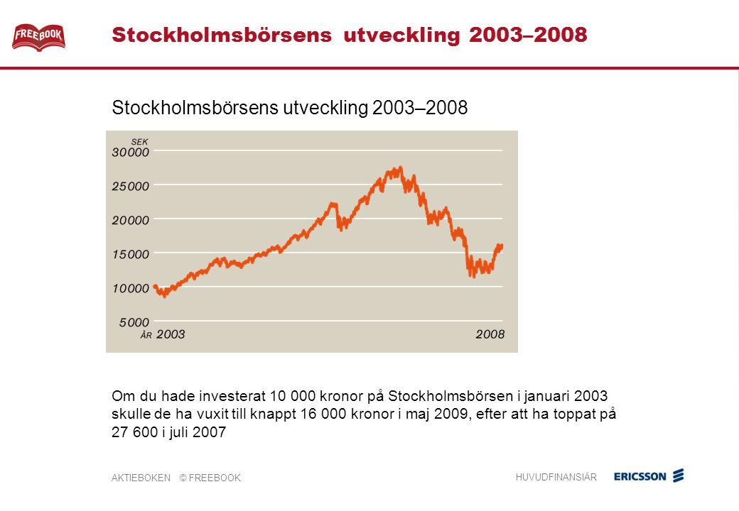 AKTIEBOKEN © FREEBOOK HUVUDFINANSIÄR Stockholmsbörsens utveckling 2003–2008 Om du hade investerat 10 000 kronor på Stockholmsbörsen i januari 2003 skulle de ha vuxit till knappt 16 000 kronor i maj 2009, efter att ha toppat på 27 600 i juli 2007 Stockholmsbörsens utveckling 2003–2008