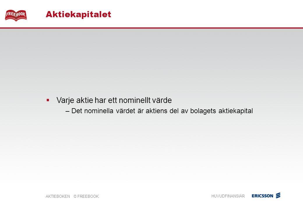AKTIEBOKEN © FREEBOOK HUVUDFINANSIÄR Aktiekapitalet  Varje aktie har ett nominellt värde – Det nominella värdet är aktiens del av bolagets aktiekapital