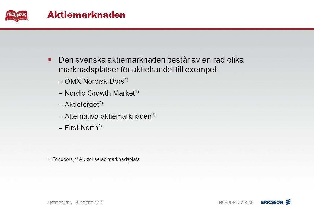 AKTIEBOKEN © FREEBOOK HUVUDFINANSIÄR  Den svenska aktiemarknaden består av en rad olika marknadsplatser för aktiehandel till exempel: – OMX Nordisk Börs 1) – Nordic Growth Market 1) – Aktietorget 2) – Alternativa aktiemarknaden 2) – First North 2) 1) Fondbörs, 2) Auktoriserad marknadsplats Aktiemarknaden