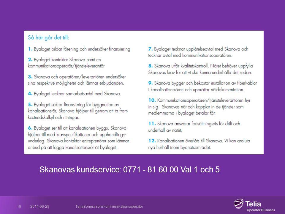 2014-06-28TeliaSonera som kommunikationsoperatör10 Skanovas kundservice: 0771 - 81 60 00 Val 1 och 5