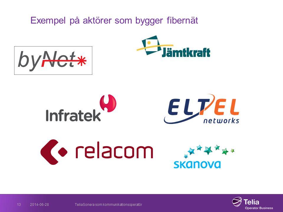2014-06-28TeliaSonera som kommunikationsoperatör13 Exempel på aktörer som bygger fibernät