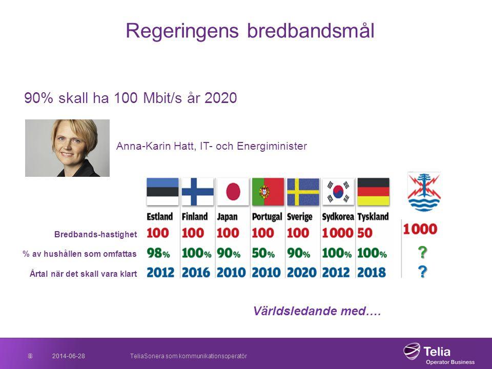 2014-06-28TeliaSonera som kommunikationsoperatör8 Regeringens bredbandsmål 90% skall ha 100 Mbit/s år 2020 Anna-Karin Hatt, IT- och Energiminister 201