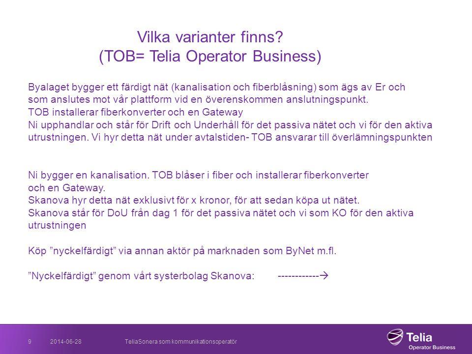 2014-06-28TeliaSonera som kommunikationsoperatör9 Vilka varianter finns? (TOB= Telia Operator Business) Byalaget bygger ett färdigt nät (kanalisation