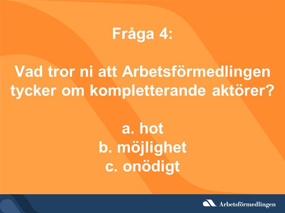 Fråga 4: Vad tror ni att Arbetsförmedlingen tycker om kompletterande aktörer? a. hot b. möjlighet c. onödigt