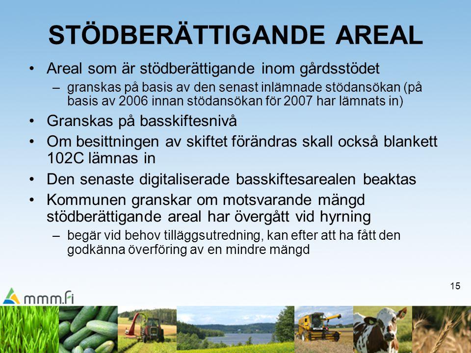 15 STÖDBERÄTTIGANDE AREAL •Areal som är stödberättigande inom gårdsstödet –granskas på basis av den senast inlämnade stödansökan (på basis av 2006 inn