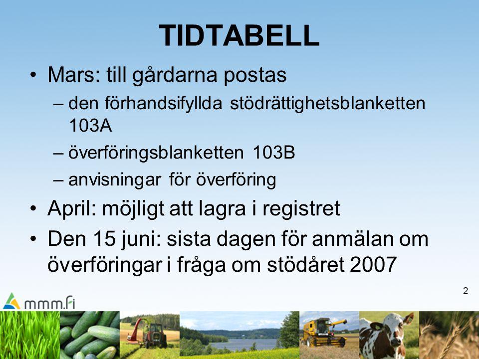 2 TIDTABELL •Mars: till gårdarna postas –den förhandsifyllda stödrättighetsblanketten 103A –överföringsblanketten 103B –anvisningar för överföring •Ap