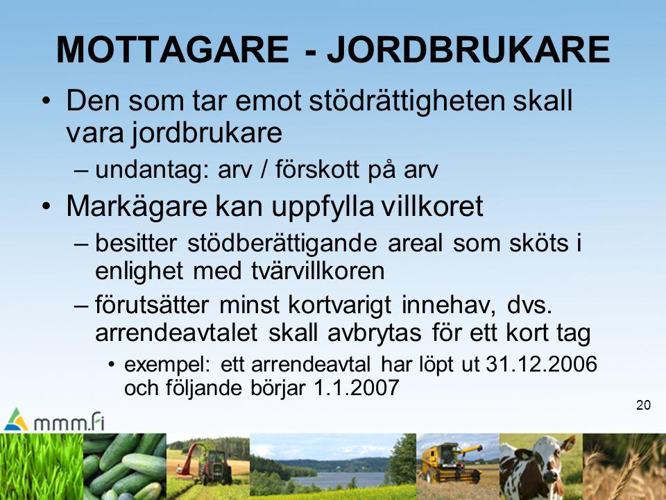 20 MOTTAGARE - JORDBRUKARE •Den som tar emot stödrättigheten skall vara jordbrukare –undantag: arv / förskott på arv •Markägare kan uppfylla villkoret