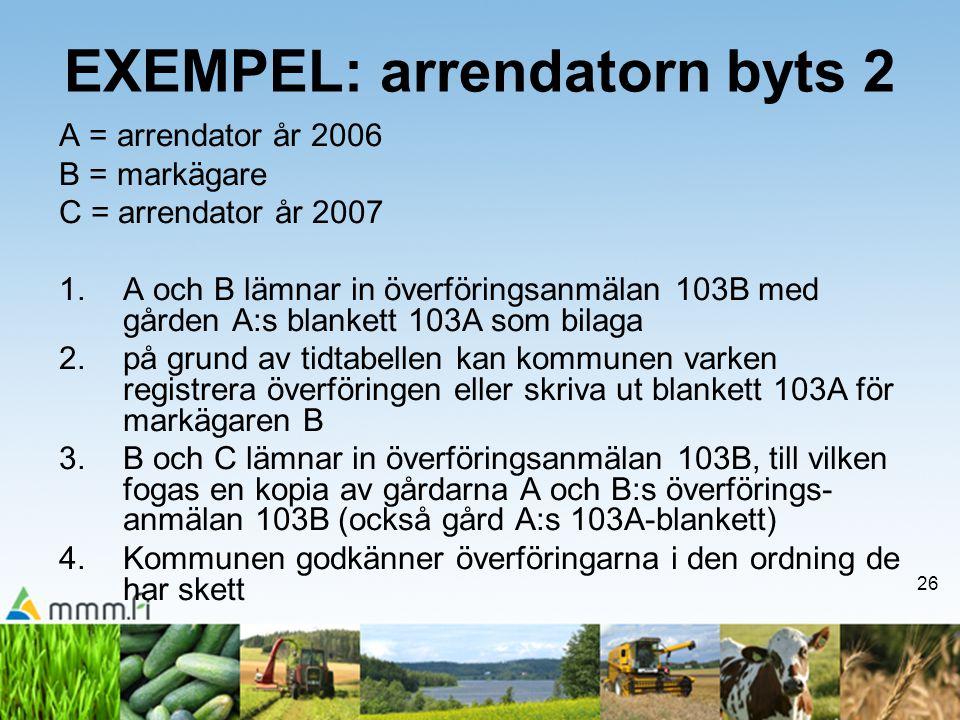 26 EXEMPEL: arrendatorn byts 2 A = arrendator år 2006 B = markägare C = arrendator år 2007 1.A och B lämnar in överföringsanmälan 103B med gården A:s