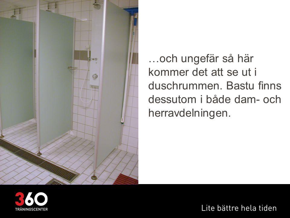 …och ungefär så här kommer det att se ut i duschrummen. Bastu finns dessutom i både dam- och herravdelningen.
